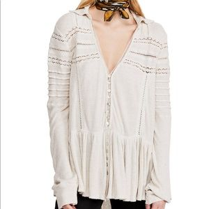 Free People | Set to Stun Lace Inset Flowy Blouse